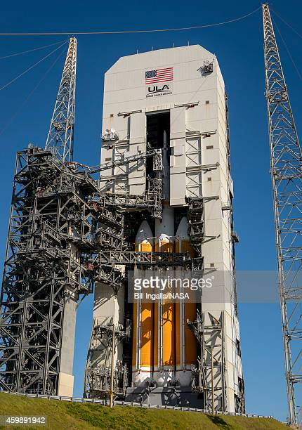 In this handout provided by National Aeronautics and Space Administration , the United Launch Alliance Delta 4 rocket carrying NASA's first Orion...
