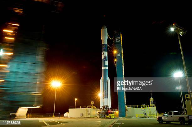 In this handout provided by National Aeronautics and Space Administration The Delta II rocket with it's Aquarius/SACD spacecraft payload is rolled...