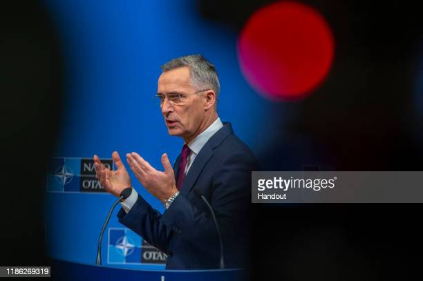 In this handout provided by NATO Jens Stoltenberg Secretary General of NATO speaks at a press conference ahead of the NATO Leaders meeting at the...