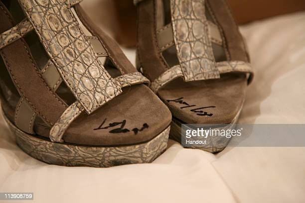 In this handout provided by Rise Up Christchurch Te Kotahitanga a pair of Lady Gaga's signed Gucci shoes are seen ahead of the Rise Up Christchurch...