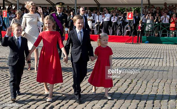 In this handout provided by the Chancellerie du Premier Ministre Prince Emmanuel Princess Elisabeth Prince Gabriel and Princess Eleonore of Belgium...
