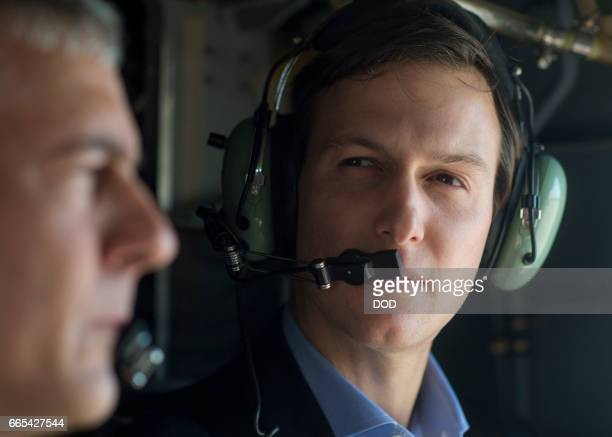 In this handout provided by the Department of Defense Jared Kushner Senior Advisor to President Donald J Trump speaks with Lt Gen Stephen J Townsend...