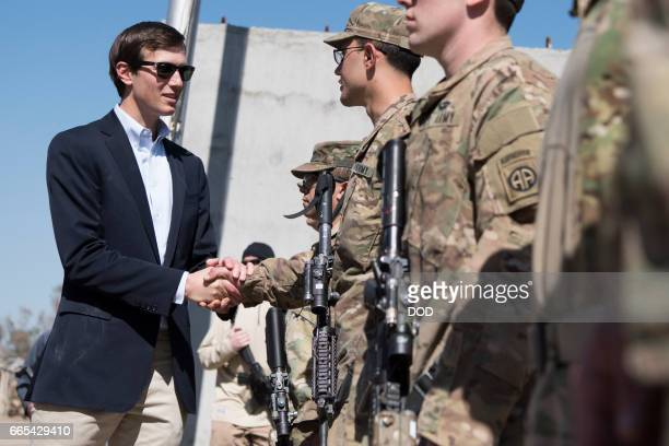 In this handout provided by the Department of Defense Jared Kushner Senior Advisor to President Donald J Trump meets with Service Members at a...