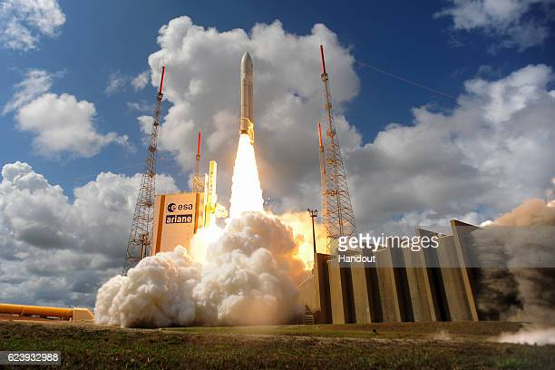 In this handout provided by the European Space Agency Ariane Flight VA233 carrying four European Galileo navigation satellites launches November 15...