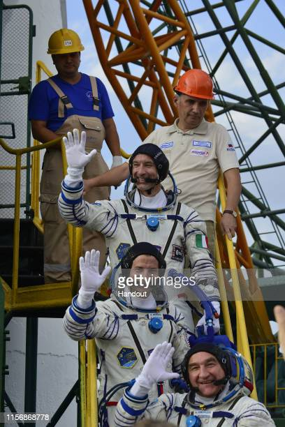In this handout provided by the European Space Agency, ESA astronaut Luca Parmitano prepares for launch to the International Space Station in the...