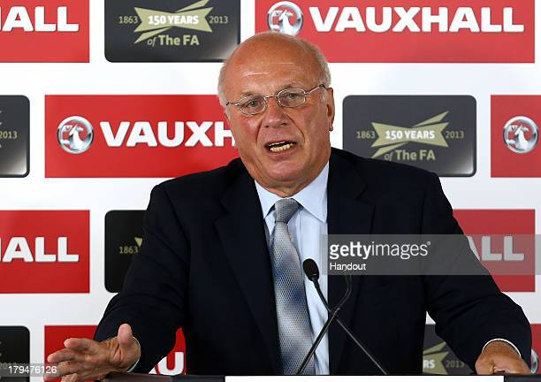In this handout provided by the FA FA Chairman Greg Dyke addresses the media during the Vauxhall Media Lunch at Millbank Tower on September 4 2013 in...