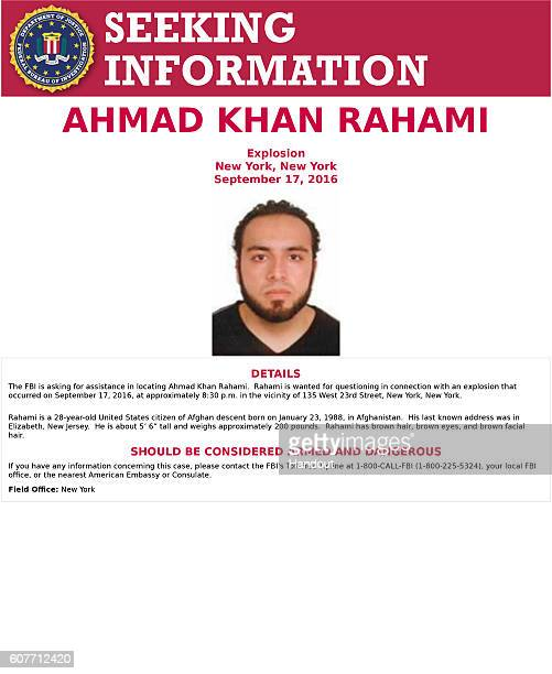 In this handout provided by the Federal Bureau of Investigation Ahmad Khan Rahami poses for a mug shot photo Rahami is a 28yearold United States...