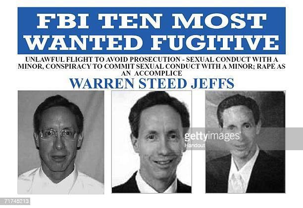In this handout provided by the Federal Bureau of Investigation polygamist Warren Steed Jeffs is pictured on a FBI Ten Most Wanted poster Jeffs the...