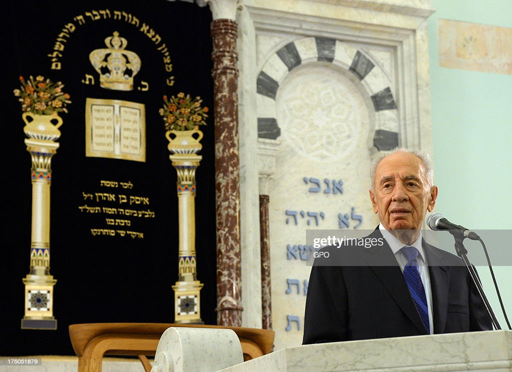 In this handout provided by the GPO, Israeli President Shimon Peres speaks during a service in a Jewish Synagogue July 30, 2013 in Riga, Latvia. Shimon Peres has embarked on a state visit to Latvia and Lithuania.