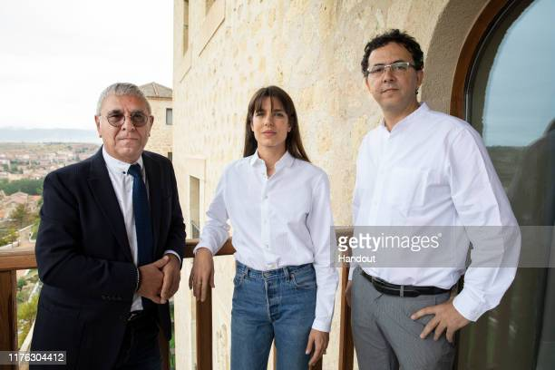 In this handout provided by the Hay Festival Charlotte Casiraghi Robert Maggiori and a guest present 'Archipielagos de Pasiones' at IE University on...