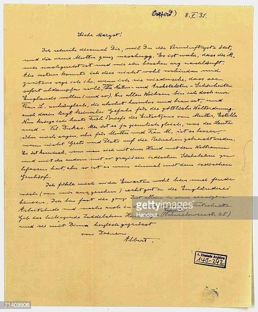 In this handout provided by the Hebrew University of Jerusalem A signed letter from Albert Einstein to his stepdaughter Margot dated May 8 forms part...