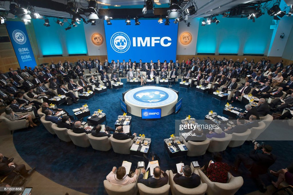 In this handout provided by the IMF, International Monetary Fund Christine Lagarde talks to IMFC members April 22, 2017 at the IMF Headquarters in Washington, DC. The IMF/World Bank Spring Meetings are being held in Washington this week.