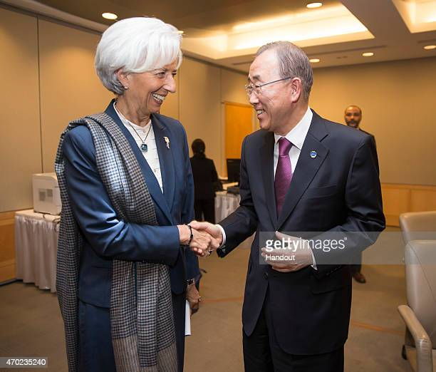 In this handout provided by the International Monetary Fund International Monetary Fund Managing Director Christine Lagarde greets UN Secretary...