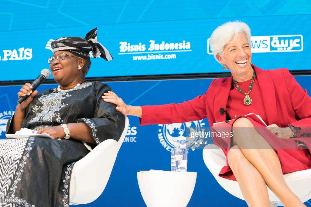 In this handout provided by the International Monetary Fund (IMF), International Monetary Fund Managing Director Christine Lagarde (R) joins a panel on Fighting Corruption with Ngozi Okonjo-Iweala (L) Chair of GAVI and Former Finance Minister, Nigeria during the IMF/World Bank Annual Meetings at the IMF Headquarters October 15, 2017.