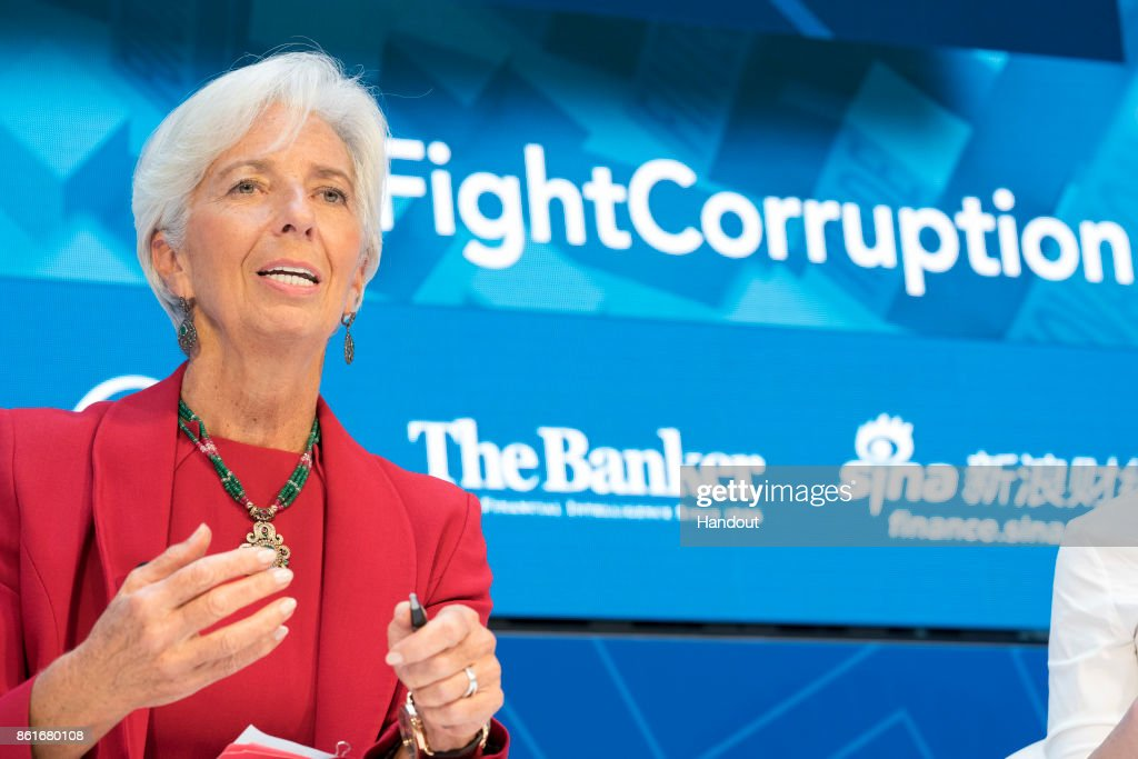 In this handout provided by the International Monetary Fund (IMF), International Monetary Fund Managing Director Christine Lagarde joins a panel on Fighting Corruption during the IMF/World Bank Annual Meetings at the IMF Headquarters October 15, 2017.