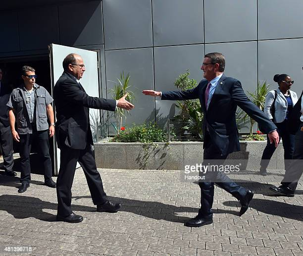 In this handout provided by the Israel Ministry of Defense US Defense Secretary Ash Carter and Israeli Defense Minister Moshe Ya'alon greet at...