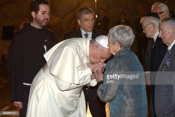 In this handout provided by the Israeli Government Press Office Pope Francis visits the Yad Vashem Holocaust Museum on May 26 2014 in Jerusalem...