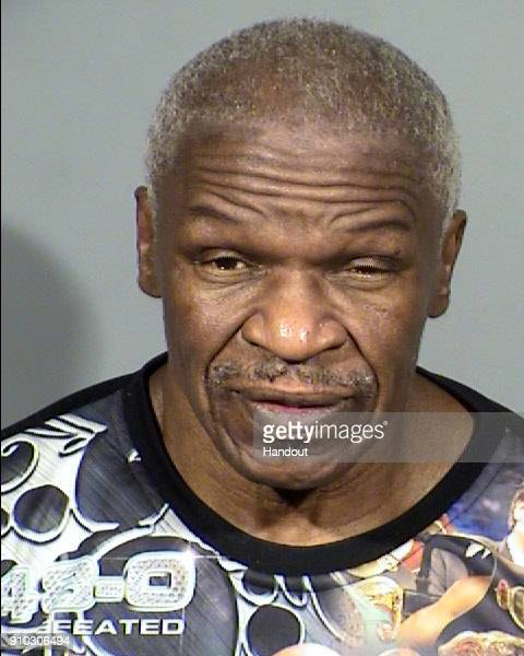 In this handout provided by the Las Vegas Metropolitan Police Department Floyd Mayweather Sr poses for a mugshot photo after he was was arrested for...