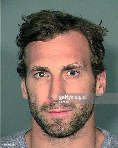 In this handout provided by the Las Vegas Metropolitan Police Department hockey player Jarret Stoll of the Los Angeles Kings poses for a mugshot...