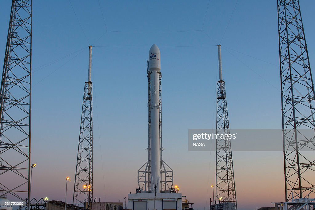 In this handout provided by the National Aeronautics and Space Administration (NASA), SpaceXs Falcon 9 rocket sits on the launching pad with the JCSAT-14 communications satellite on May 5, 2016 in Cape Canaveral, Florida.