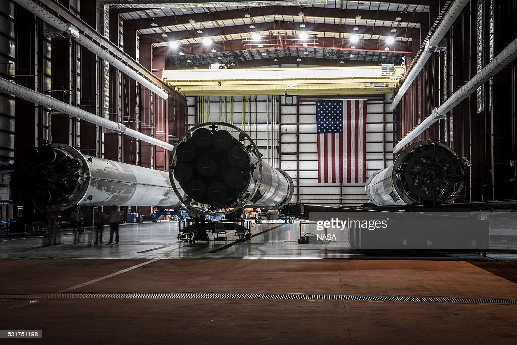 In this handout provided by the National Aeronautics and Space Administration (NASA), landed SpaceX rockets sit in Launch Complex 39 at the Kennedy Space Center on May 14, 2016 in Cape Canaveral, Florida.