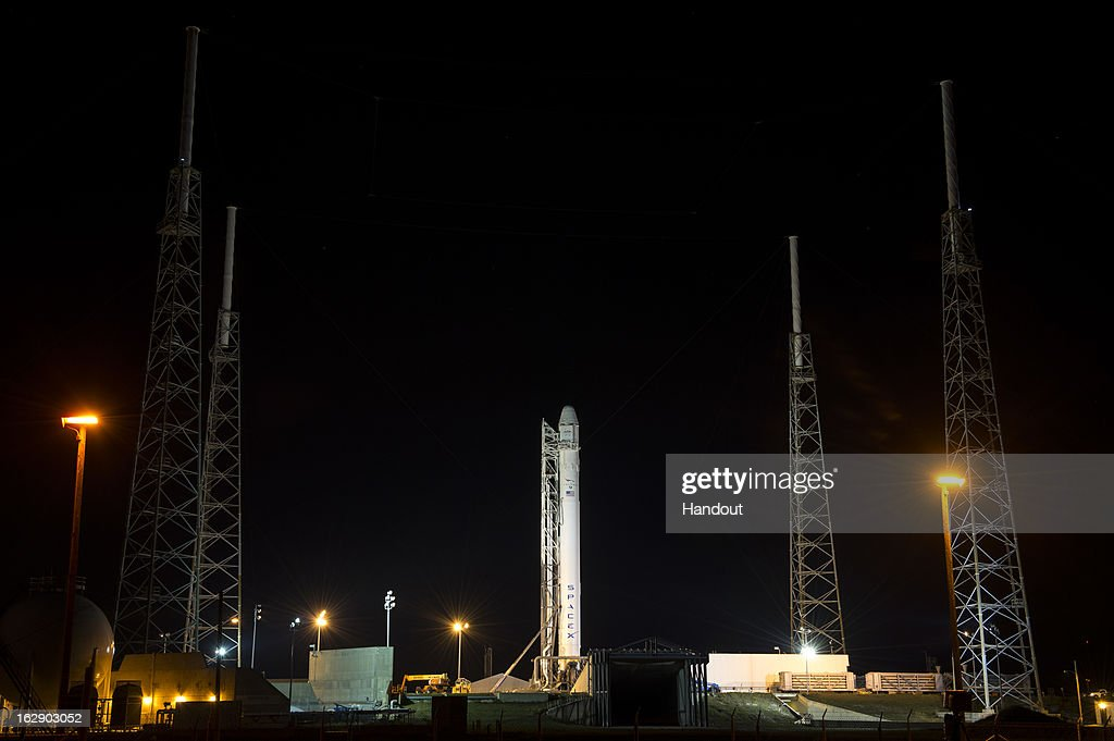 In this handout provided by the National Aeronautics and Space Administration (NASA), the SpaceX Falcon 9 rocket carrying the Dragon spacecraft onboard, sits on the launchpad at Launch Complex 40 at the Cape Canaveral Air Force Station on March 1, 2013 in Florida . Launch of the second SpaceX Commercial Resupply Services mission is scheduled for later this morning.