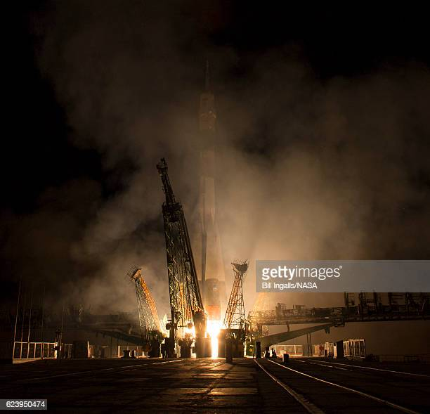 In this handout provided by the National Aeronautics and Space Administration the MS03 spacecraft aboard a Soyuz rocket launches with Expedition 50...