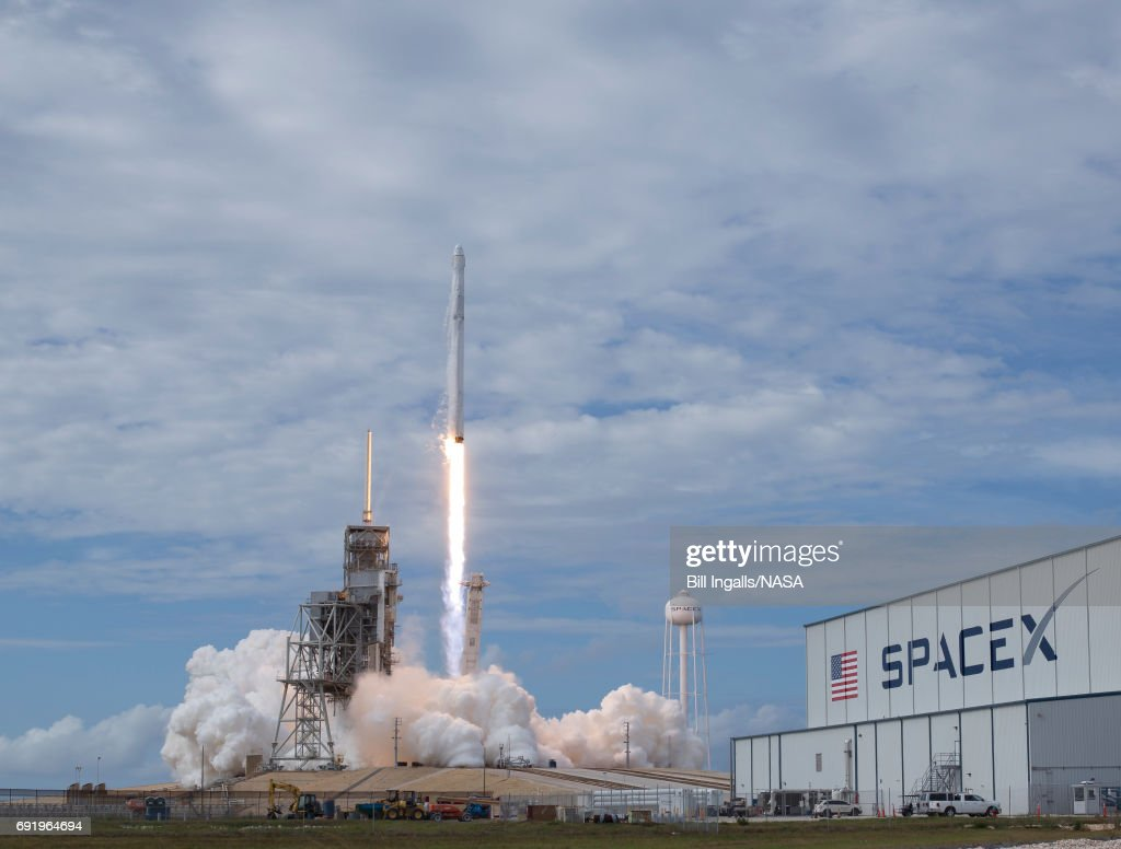 In this handout provided by the National Aeronautics and Space Administration (NASA), the SpaceX Falcon 9 rocket, with the Dragon spacecraft onboard, launches from pad 39A at NASA's Kennedy Space Center on June 3, 2017 in Cape Canaveral, Florida. Dragon is carrying almost 6,000 pounds of science research, crew supplies and hardware to the International Space Station in support of the Expedition 52 and 53 crew members. The unpressurized trunk of the spacecraft also will transport solar panels, tools for Earth-observation and equipment to study neutron stars. This will be the 100th launch, and sixth SpaceX launch, from this pad. Previous launches include 11 Apollo flights, the launch of the unmanned Skylab in 1973, 82 shuttle flights and five SpaceX launches.