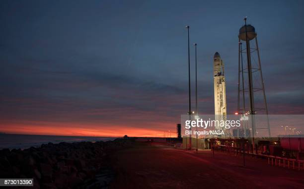 In this handout provided by the National Aeronautics and Space Administration the Orbital ATK Antares rocket with the Cygnus spacecraft onboard is...