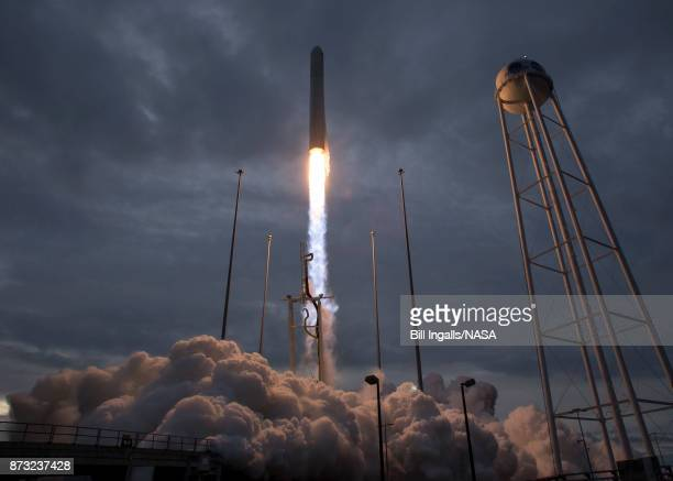 In this handout provided by the National Aeronautics and Space Administration The Orbital ATK Antares rocket with the Cygnus spacecraft onboard...