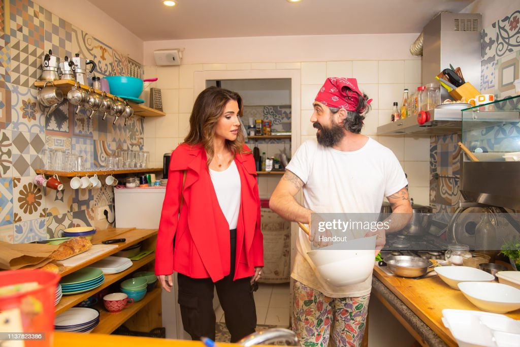 Queen Rania Sighting Out at Old Neighborhood In Amman : News Photo