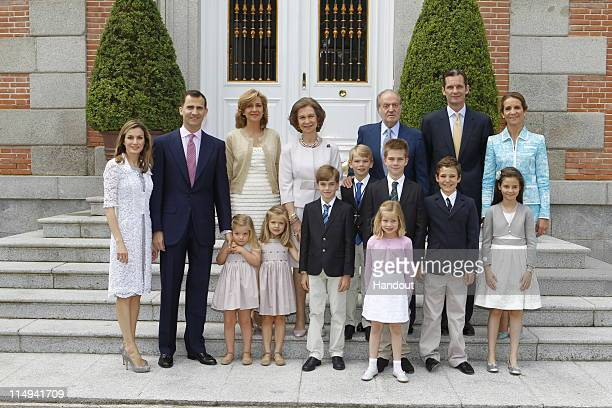 In this handout provided by the Spainish Royal House His Excellency Don Miguel Urdangarin y de Borbon Grande of Spain poses with members of the...