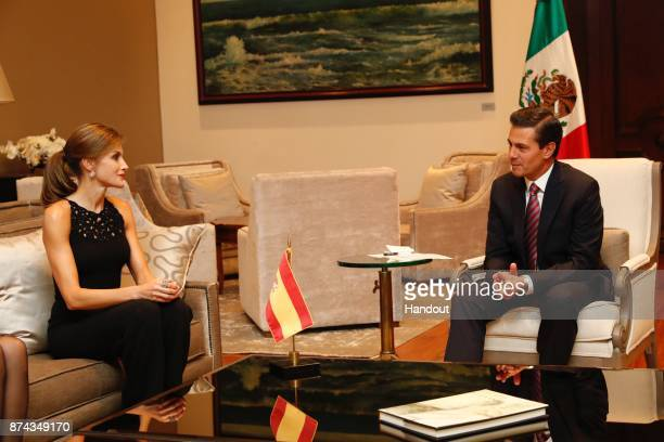 In this handout provided by the Spanish Royal house Queen Letizia of Spain meets President of Mexico Enrique Pena Nieto at 'Los Pinos' residence on...