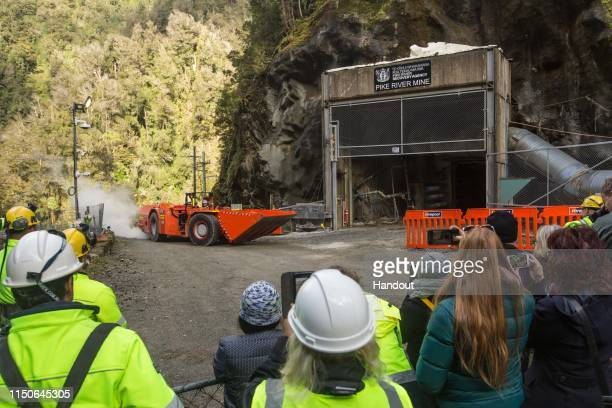 In this handout provided by the Stand With Pike Families Reference Group the Pike River Mine is entered with heavy equipment on May 21 2019 in...