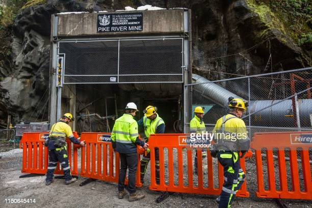 In this handout provided by the Stand With Pike Families Reference Group, workers prepare for the reopening of the Pike River Mine on May 21, 2019 in...