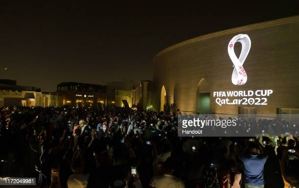 In this handout provided by The Supreme Committee for Delivery & Legacy, The Official Emblem of the FIFA World Cup Qatar 2022™️ is unveiled on...