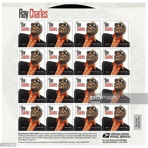 In this handout provided by the US Postal Service a stamp sheet with the likeness of musician Ray Charles is seen as part of the Music Icons Forever...