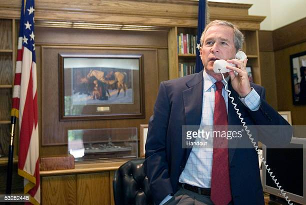 In this handout provided by the White House President George W Bush calls seven times Tour de France champion Lance Armstrong to offer his...