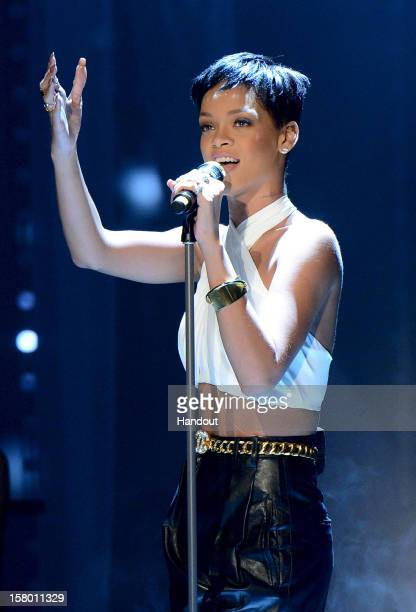 In this handout provided by the ZDF Rihanna performs at 'Wetten dass' From Freiburg on December 8 2012 in Freiburg im Breisgau Germany