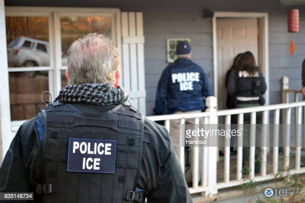 In this handout provided by U.S. Immigration and Customs Enforcement, Foreign nationals were arrested this week during a targeted enforcement...