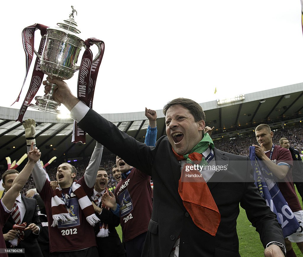 In this handout provided by William Hill, Coach Paulo Sergio of Hearts celebrates after winning the William Hill Scottish Cup Final between Hibernian and Hearts at Hampden Park on May 19, 2012 in Glasgow, Scotland.