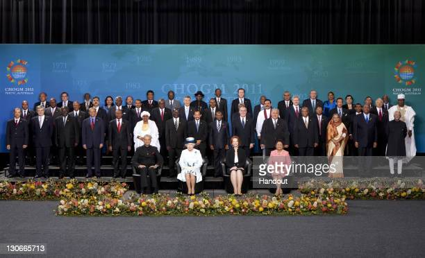 In this Handout Queen Elizabeth II The SecretaryGeneral of The Commonwealth Kamalesh Sharma The Australian Prime Minister Julia Gillard 2RFR and the...