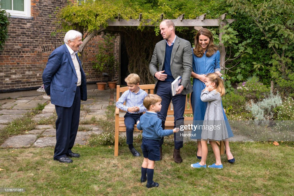 Sir David Attenborough Meets Prince William And Family : News Photo
