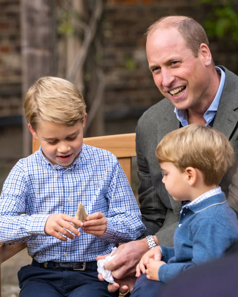 GBR: Sir David Attenborough Meets Prince William And Family