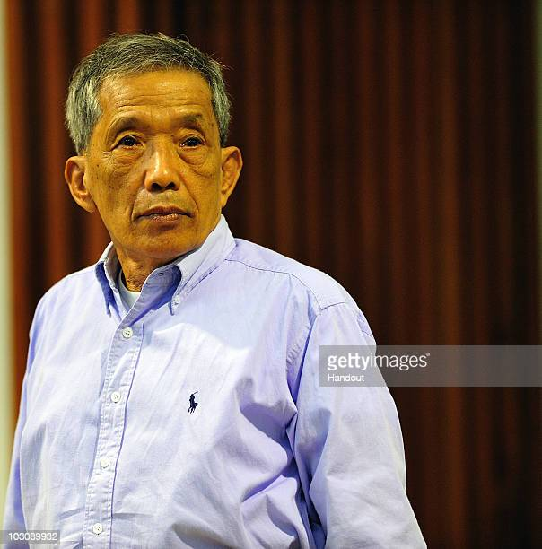 In this handout released by Extraordinary Chamber in the Courts of Cambodia Kaing Guek Eav also known as Duch stands in the courtroom July 26 2010 in...