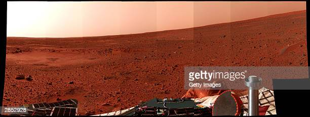 In this handout released by NASA a Mars landscape is seen in a picture taken by the panoramic camera on the Mars Exploration Rover Spirit January 8...