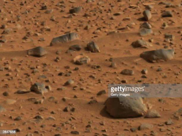 In this handout released by NASA angular and smooth surface of rocks are seen in an image taken by the panoramic camera on the Mars Exploration Rover...