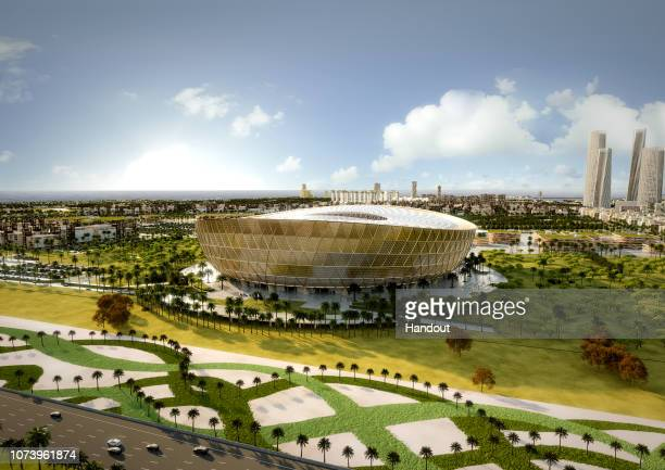 In this handout rendered image released by the 2022 Supreme Committee for Delivery and Legacy Qatar 2022 FIFA World Cup tournament organisers unveil...