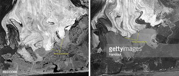 In this handout satellite composite image provided by the U.S. Geological Survey , satellite images of polar ice sheets taken in September 1996 and...
