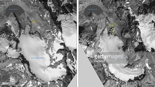 In this handout satellite composite image provided by the U.S. Geological Survey , satellite images of polar ice sheets taken in August 28, 2000 and...